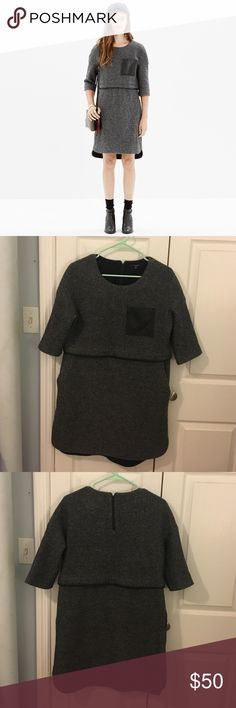 Madewell Leather pocket installation dress Only worn twice! Perfect condition wool dress with leather pocket. Hits above the knee Madewell Dresses Mini