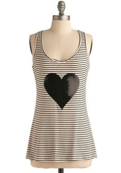 Modcloth Unlock your Heart Tank Open up to a myriad of style possibilities when you welcome this chic racerback tank into your wardrobe! Its black and white horizontal stripes provide a beautiful backdrop for this top's sequined onyx applique. Wear this sweet garment with indigo skinnies, a sheer silk scarf, and a pair of zippered ankle boots for a look that's full of heart!