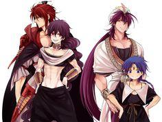Characters: Ren Kouen, Judar, Sinbad and Aladdin (Jehoahaz Abraham) from Manga, Anime: Magi The Labyrinth of Magic