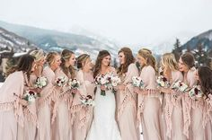Nude Winter Bridesmaid Dresses and Blanket Shawls #wedding #bridesmaiddress