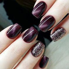 Stylish 24 PCS Color Change Purple Red Cat Eye and Glitter Powder Nail Art False…