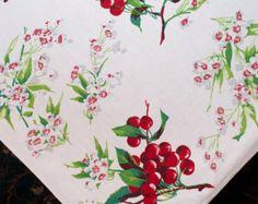 Wilendur Cherries Tablecloth, Vintage Cherries And Cherry Blossoms, 1950s  Wilendur Cherry Tablecloth, Cottage