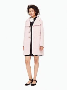 fall in love: this season, why not invest in a coat that's as unique as it is versatile? ladylike details, including a face-flattering wide lapel and bejeweled buttons, make this one special, as does