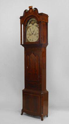 English Sheraton/Hepplewhite clock/mechanical grandfather clock mahog