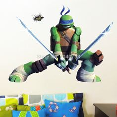 Find More Wall Stickers Information about Teenage Mutant Ninja Turtles Leonardo Da Vinci Wall Stickers, Kids Nursey Cartoon Wall Decals for Boys Room Decoration,High Quality sticker machine,China stickers metal Suppliers, Cheap stickers bamboo from Home Evolution on Aliexpress.com