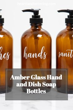 Organize your kitchen sink in seconds with these modern, customized amber glass bottles for your kitchen counter. Farmhouse Home decor - Kitchen Organization - Custom Home Decor - Organize your Kitchen - Housewarming Gifts - Refillable Soap Dispensers