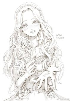 long curly hair gives Naomi a characteristic Anime Drawings Sketches, Anime Sketch, Manga Drawing, Manga Art, Cute Drawings, Anime Kawaii, Anime Chibi, Wie Zeichnet Man Manga, Devian Art