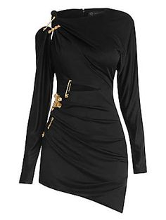 Looking for Versace Jersey Cutout Safety Pin Mini Dress BLACK ? Check out our picks for the Versace Jersey Cutout Safety Pin Mini Dress BLACK from the popular stores - all in one. Kpop Fashion Outfits, Stage Outfits, Fashion Dresses, Womens Fashion, Cute Dresses, Beautiful Dresses, Short Dresses, Versace Dress, Looks Chic