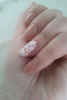 white lace on nude ( bridal nails ) by Janita / Rome, Italy