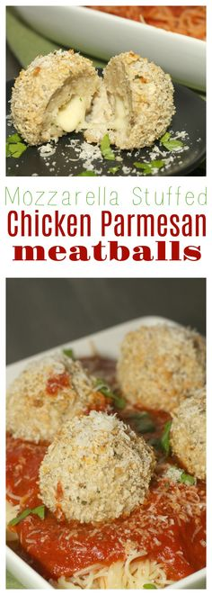 Take dinner time to the next level with these delicious Mozzarella Stuffed Chicken Parmesan Meatballs