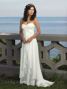 Strapless Empire Waist SweetHeart Destination Beach Wedding Dress with Lace Trimmed Sweep Train