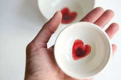 Nesting Bowls in White- Red Heart Design- Set of 2 by RossLab. $44.00, via Etsy.