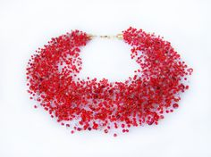 Red Golden Necklace Airy Crochet bead necklace Luxuriant Multistrand jewelry Stretch necklace Everyday Beaded necklace Valentine's Day gift (34.90 USD) by MonistoJewelry