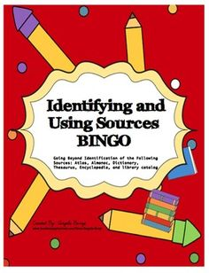 Many students lack the skills necessary to use resources such as an atlas, thesaurus, world almanac, dictionary, and library catalog. To help your students REALLY understand how and when to use these resources, consider this incredibly fun and engaging BINGO source game.