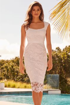 58f086b9eb13 Womens Lipsy VIP 3D Premium Lace Midi Dress - White