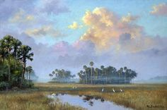 Albert Ernest (Beanie) Backus - reminds me of my beautiful home 💕 Landscape Art, Landscape Paintings, Landscapes, Florida Images, Selling Paintings, Fruit Painting, Tropical Art, Tropical Paintings, Imagines