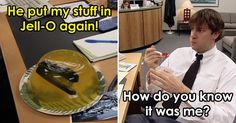 """Or: 15 Times Jim Tortured Dwight and We Loved It View """"The 15 Best Pranks From The Office Ranked"""" and more funny posts on Dorkly The Office Jim, The Office Dwight, Funny Mean Quotes, Dwight And Jim, Office Jokes, Office Birthday, Office Pictures, Good Pranks, Memes Funny Faces"""