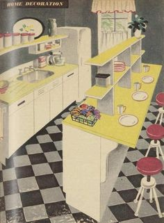 A nifty 50s kitchen design, 1952. Love the bar stools!