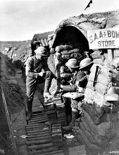 WWI, Feb 1918; Canadian Detonating Mills' bombs in reserve line. MIKAN no. 3404871 Library and Archives Canada
