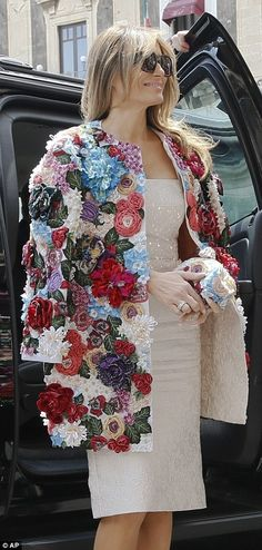 Melania showed off her chic sense of style in a statement floral jacket, which featured co...