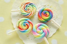 Only One Set Available 4 pcs Polymer Clay Lollipop by misssapporo