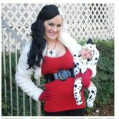 7b424073001e00 DIY matching costumes for babies and parents - Dalmatian Puppy   Cruella de  Vil Costume