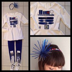 DIY Starwars costume, R2D2. Painted R2D2 design on a plain White tunic w 3D fabric paint, paired it w bright blue leggings n R2D2 knee high socks. The headband I made w a $1 flower decoration from Michaels n plastic gems.