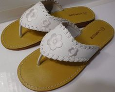 3bde7ffc25aa87 Girls L Amour Whipstitched Thong Sandals US Size 3 Leather White Style m716  NEW  LAmour  Sandals