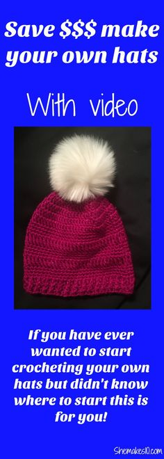 How to make a crochet simple beanie ~ shemakes10.com