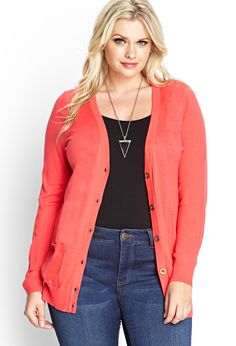 Fitted V-Neck Cardigan | FOREVER21 PLUS - 2000064281
