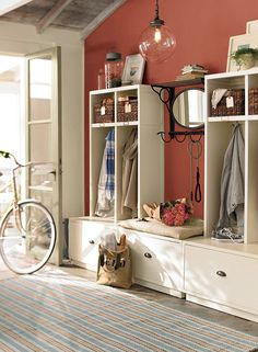 Pottery Barn paint color - Sandy Hook Gray - and I love the entry way organization! Future home ideas. future home Marsala, Pottery Barn Paint, Basket Decoration, Color Of The Year, Interiores Design, Home Projects, Paint Colors, Room Colors, Small Spaces