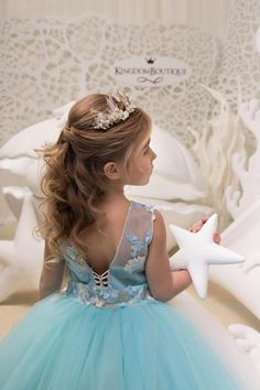 Ivory and Light Blue Flower Girl Dress Holiday Bridesmaid Wedding Party Birthday Blush Tulle Lace Flower Girl Dress Flower Girl Hairstyles Birthday Blue blush Bridesmaid Dress flower girl Holiday Ivory Lace Light Party Tulle Wedding Communion Hairstyles, Tiara Hairstyles, Flower Girl Hairstyles, Little Girl Hairstyles, Flower Girl Updo, Lace Flower Girls, Flower Girl Dresses, Lace Flowers, Girls Updo