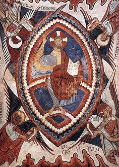 Christ Panocrator, Romanesque Catalan Painter, c. Jesus Painting, Mural Painting, Paintings, Jesus Pictures, Art Pictures, Marc Chagall, Fresco, Christ Pantocrator, Romanesque Art