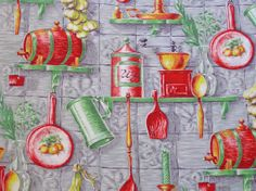 French fabric kitchen print panel, mid century textiles from Histoires on Etsy #Histories #Etsy #French fabric