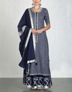 navy blue cotton mul sharara kurta w silver gota