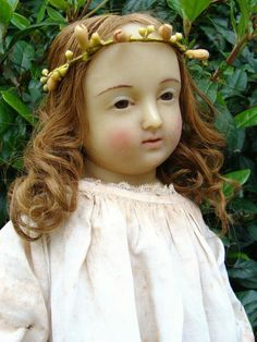 Wonderful and rare antique XVIII french wax doll.