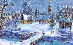 Beautiful Christmas Wallpaper Scenes Stunning wallpapers with Christmas village and nature themes. The Christmas Song, Christmas Scenes, Christmas Music, Blue Christmas, Vintage Christmas Cards, Christmas Pictures, Beautiful Christmas, Winter Christmas, Christmas Time