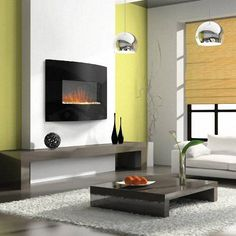 4 Questions to Ask Before You Buy a Wall Mount Fireplace (Electric Fireplace) Wall Mounted Fireplace, Wall Mount Electric Fireplace, Electric Fireplace Heater, Fireplace Inserts, Style At Home, Modern Electric Fireplace, Electric Fireplaces, Curved Walls, Fireplace Design