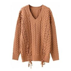 Camel V-neck Lace Up Side Cable Knit Sweater ($48) ❤ liked on Polyvore featuring tops, sweaters, v neck cable sweater, brown v neck sweater, brown sweater, v-neck sweater and v neck sweater