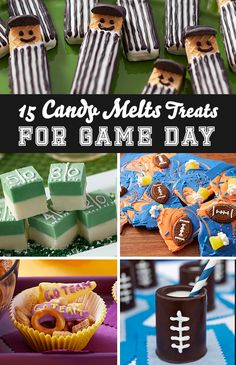15 Candy Melts Treats for Game Day - Looking for a sweet game day treat? Here are 15 super fun and easy sweet snacks that you can make using Wilton Candy Melts candy! They are perfect to bring to homecoming, pep rallies, tailgate parties or football game watching with friends and families.