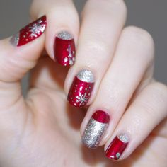 Red and Silver Half-Moon-Manicure Holiday Nails Xmas Nails, Get Nails, Fancy Nails, Pretty Nails, Hair And Nails, Holiday Nail Designs, Holiday Nail Art, Christmas Nail Art, Nail Art Designs