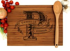 personalized wedding gift custom engraved wood cutting board vintage initial monogram engagement gift