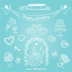 Hand-drawn line art wedding graphics Free Vector
