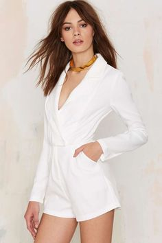 Blazer of Glory Tux Romper in White from Nasty Gal