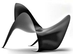 Manta Chair by Mast 3.0 Carbon Fiber Furniture.  The shape resembles a swimming manta ray.