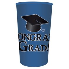 Cobalt Graduation 22 oz Printed Plastic Cups/Case of 20