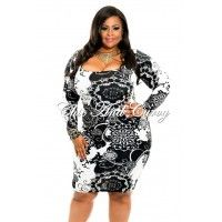 New Plus Size BodyCon with Square Neck in Black and White Print 1x 2x 3x