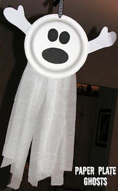paper plate ghost; we added googley eyes and used shredded garbage bags instead of streamers; a big hit with the 4-7 crowd as a party craft