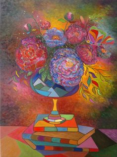 "Saatchi Art Artist Stefan Silvestru; Painting, ""Still life with peonies"" #art"