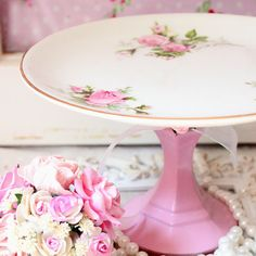 DIY cake stand: painted candlestick + china plate. :) I would love to have some of these on the dessert table with cakes and treats on them!! :D